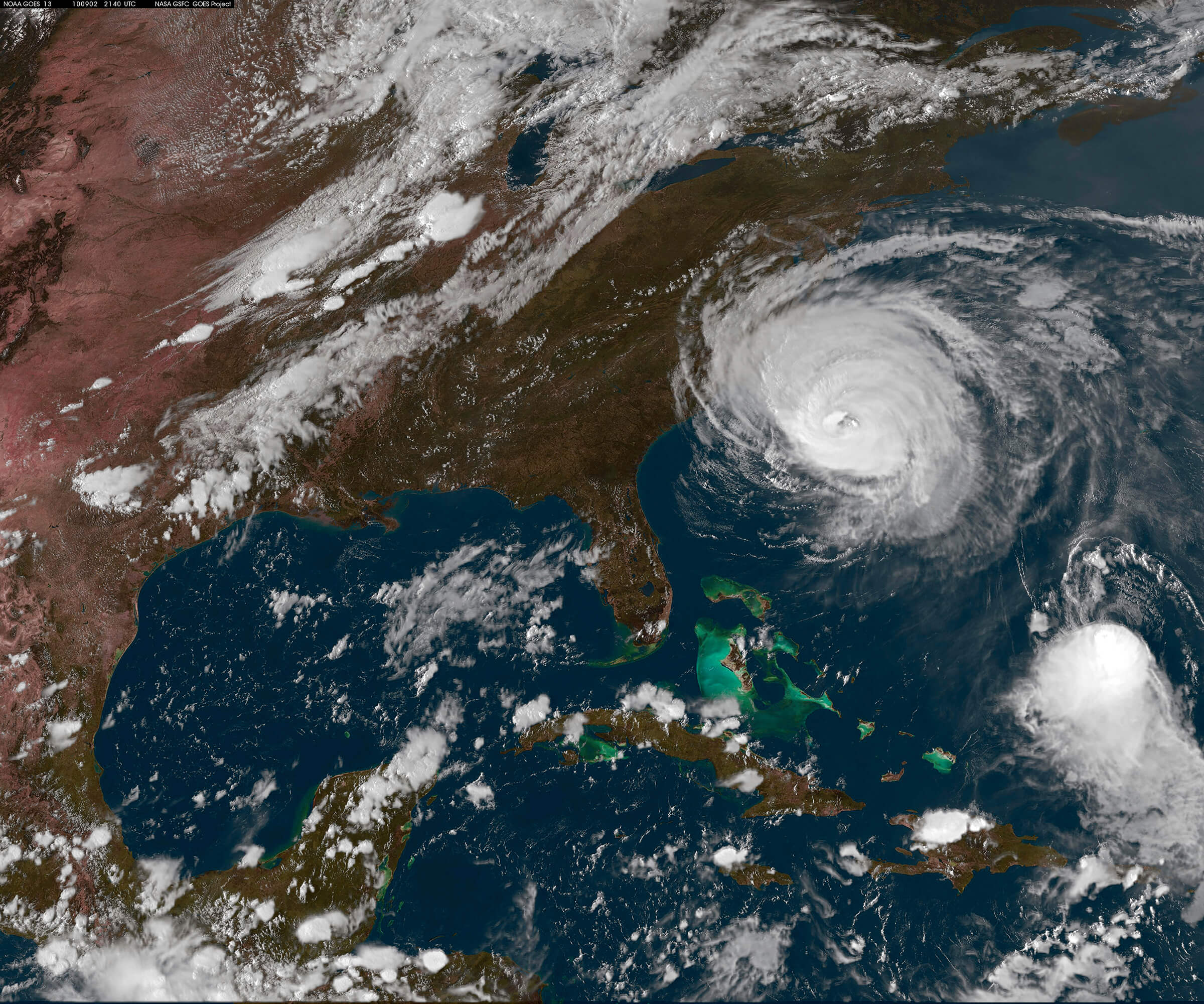 Hurricane near US from space